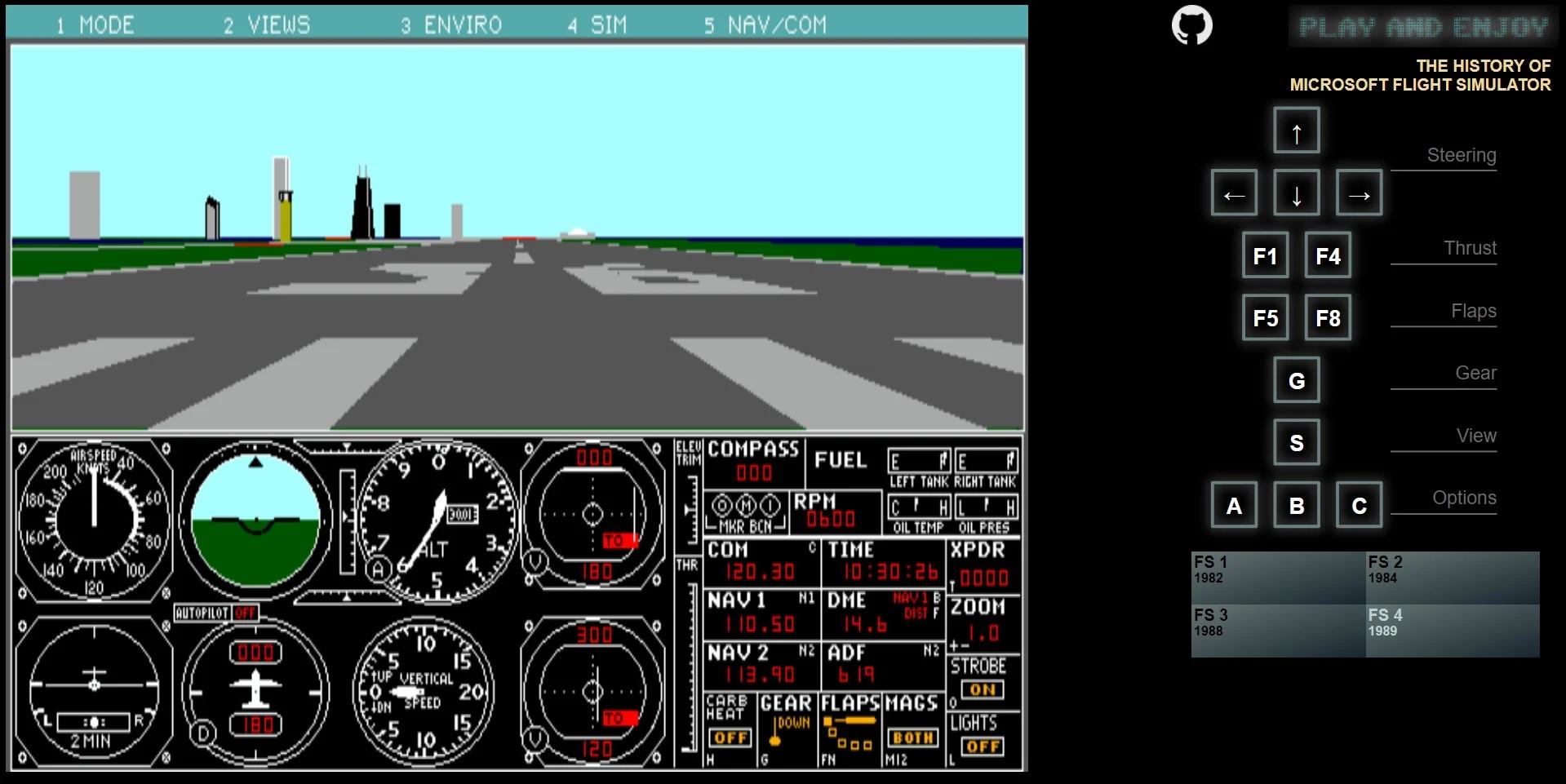 Microsoft Flight Simulator 1982 Tarayıcı İle Oynanabilir Hale Geldi !